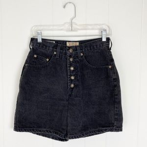 Vintage Express Black Denim Button Fly Mom Shorts